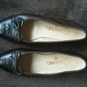 Chanel brown and black ballet flats